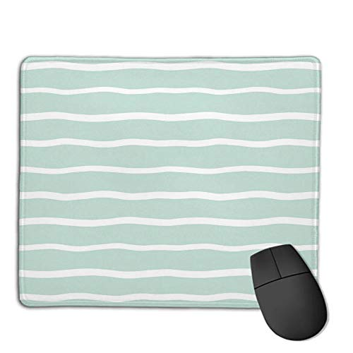 Mouse Pad Custom,Non-Slip Rubber Mousepad,Mint,Horizontal Wavy Lined Color Striped Abstract Soft Toned Nautical Art Display,Almond Green White,for Laptop, Computer, PC, Keyboard,H9.8XW11.8inch