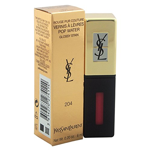 Yves Saint Laurent Rouge Pur Couture Vernis A Levres Pop Water Lip Gloss for Women, 204 Onde Rose, 0.2 Ounce