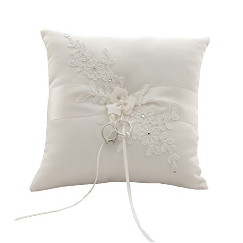 GuiHe Lace Pearl Ivory Satin Flower Wedding Ring Bearer Pillow 8.2Inch x 8.2 Inch for Wedding Decorative