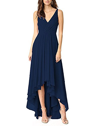 Jdress Women's Long Hi Low Prom Dresses Chiffon V-Neck Bridesmaid Gowns for Weddings Navy Blue