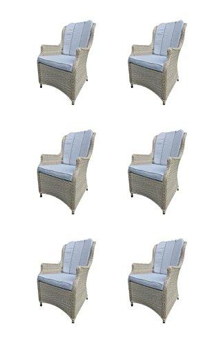 6 x Luxus Alu Diningsessel Bathala Cloudy White, Polyrattan Geflecht mit Sitz- und Rückenkissen