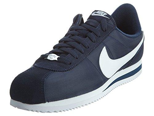 Nike Men's Cortez Basic Nylon Obsidian/White/Mtllc Slvr Casual Shoe 8
