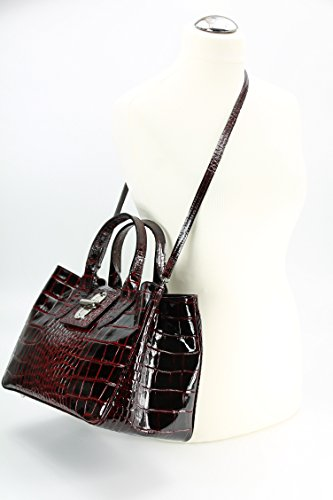 BELLI ital. Echt Leder Handtasche Henkeltasche bordeaux rot lack Kroko Prägung - 36x25x18 cm (B x H x T)
