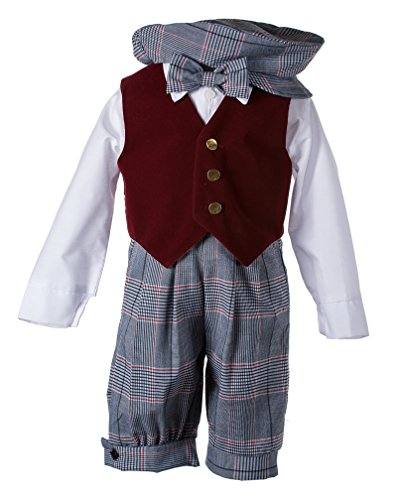Toddlers Vintage Weave Knickers Set with Holiday Burgundy Velvet Vest (3 Toddlers) (Velvet Vest Vintage)