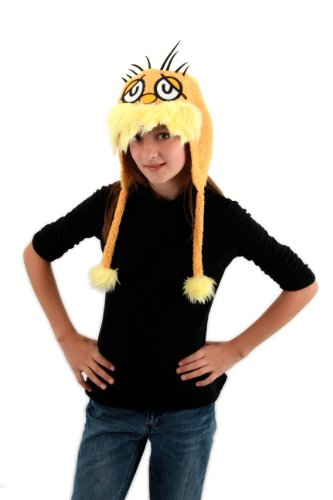 Hats Suess Dr (Elope Dr. Seuss Lorax Hoodie Hat, Yellow, One)