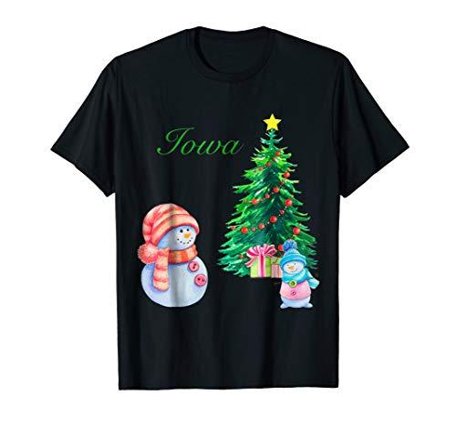 Iowa Snowman Merry Christmas Tree IA Ugly Christmas