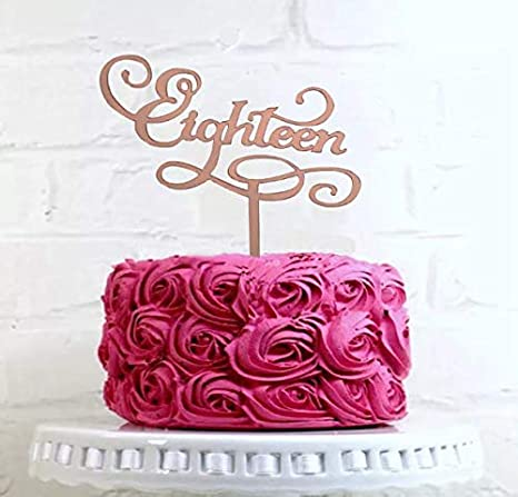Awesome Rose Gold Eighteen Cake Topper 18Th Cake Topper Happy 18Th Cake Personalised Birthday Cards Veneteletsinfo
