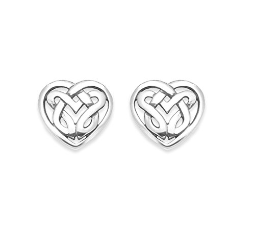 Sterling Silver Celtic Heart Earrings - Celtic Earrings - studs - SIZE: 8mm...
