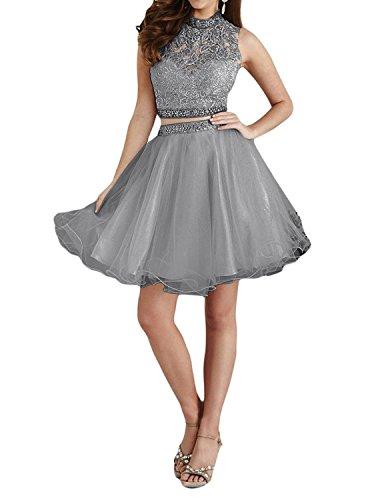 teilig A Braut Kurz La Romantisch Marie Linie Grau Mini Partykleider Elfenbein Abendkleider Tuell Promkleider Spitze Zwei Wq40fAS4O