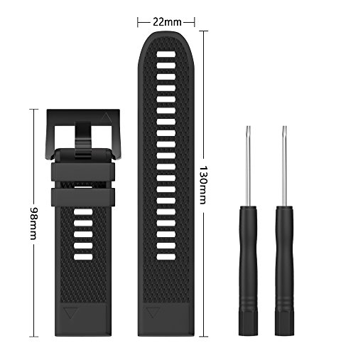 Garmin Fenix 5 Watch Band, Shangpule 22mm Soft Silicone Wristband Replacement strap with Quick Release Connectors for Garmin Fenix 5 / Forerunner 935 GPS Watch