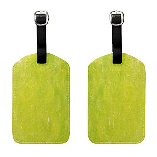 Luggage ID Tag Lime Green,Grunge Hazy Color Background with Scattered Blurry Shade Effects Mystic Print, Apple Green Luggage Tags - 2 Pack