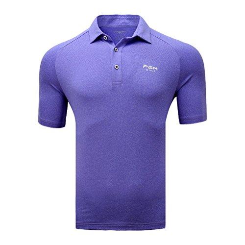 Kayiyasu ポロシャツ メンズ ゴルフウェア UVカット ゴルフシャツ オシャレ スポーツシャツ 男性用 半袖 Tシャツ 運動着 日焼け止め 021-xsty-yf135(XXL パープル)