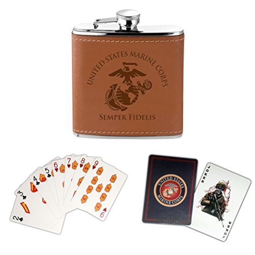 USMC Flask and Marine Corps Playing Cards Set