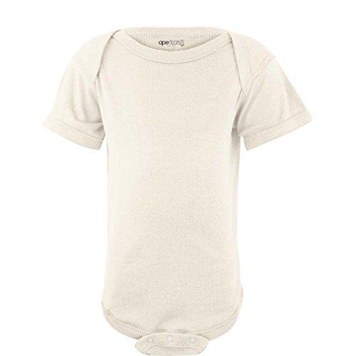 Apericots Super Soft Cotton Blank Plain Comfy Baby Short Sleeve Bodysuit, Cream, 18 Months Baby Cotton Short Sleeved Onesie