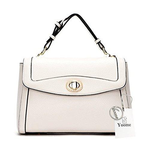 le modello ragazze Yoome Borsa donne eleganti casual bianco Top vegana pelle Lichee in borse per Zxawvq