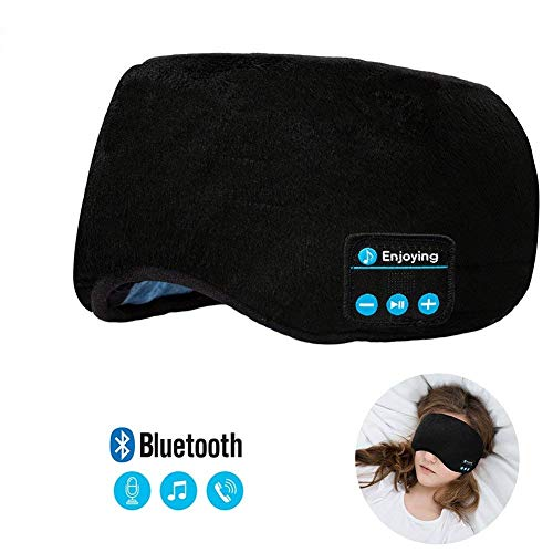 Bluetooth Sleeping Eye Mask Headphones, Mestron Upgrade Sleeping Travel Music Eye Cover 5.0 Bluetooth Headsets with Microphone, Hand-Free Music Sleep Eye Shades Headset Washable (Black)