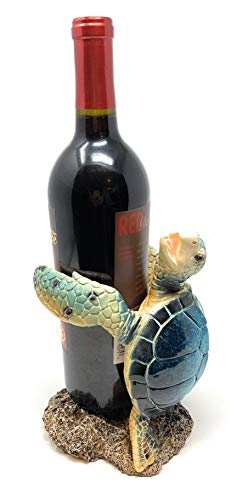 Globe Imports Blue Sea Turtle Resin Wine Bottle Holder, 7.75 Inches Tall