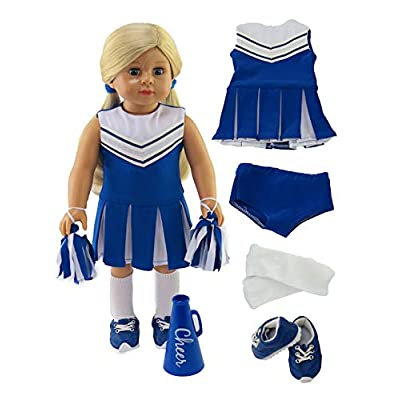 Blue Cheerleader Outfit Cheerleading Uniform with Dress, Bloomers, Poms, Megaphone, Socks, and Shoes fits 18 Inch Doll: Toys & Games