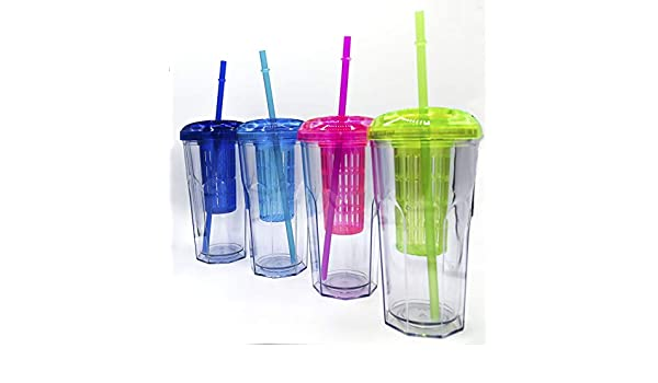 ML Pack 2 Vasos de Batidos infusiones de plástico sin BPA con Tapa ...