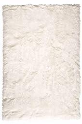 Faux Sheepskin Area Rug, 4\'X6\', White