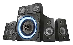 Trust Tytan GXT 658 - Sistema de Altavoces 5.1 con Iluminación LED y Sonido Envolvente, Color Negro
