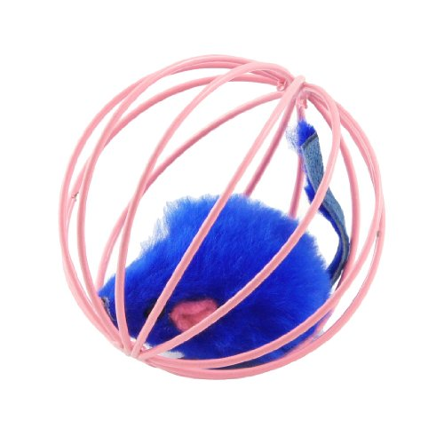 Como Deep Blue Fake Mouse Pet Cat Funny Playing Toy in Pink Cage Ball, My Pet Supplies
