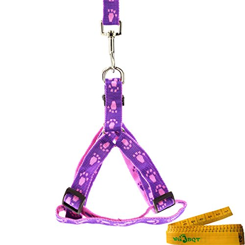 Picture of Wiz BBQT Pink and Purple Adjustable Breakaway Dog Cat Pet Harness and Leash Set with Footprint for Dogs Cats Pets in Spring Summer Autumn (Medium)