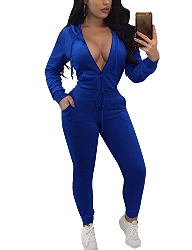 Salimdy Velvet Two Pieces Outfits Long Sleeve Zipper Hoodie Jacket and Pants Sweatsuits Tracksuits For Women Blue S