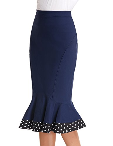 blue Hips Wrapped Navy Mermaid Stretchy Belle Pencil Women's Skirt Vintage Poque Business xqPnSRf
