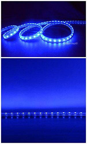 CBConcept UL Listed, 120 Feet,Super Bright 32850 Lumen, Blue, Dimmable, 110-120V AC Flexible Flat LED Strip Rope Light, 2190 Units 5050 SMD LEDs, Waterproof IP65, Accessories Included, Size: 0.57 Inch Width X 0.33 Inch Thickness- [Christmas Lighting, Indo by CBconcept (Image #2)