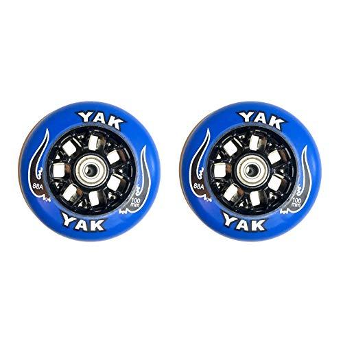 YAK Toro キックボード用ウィール 100mm x 85a (ベアリング付) 前後Set blue on black