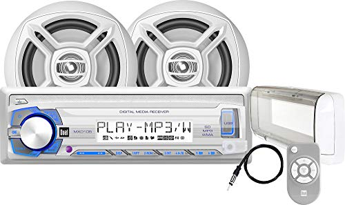 Dual Electronics MCP105S Multimedia Detachable Single DIN Marine Stereo with Built-In Bluetooth, USB & SD Card Ports, Two 6.5 inch Dual Cone High Performance Marine Speakers, Waterproof Remote Control & Long Range Marine Antenna