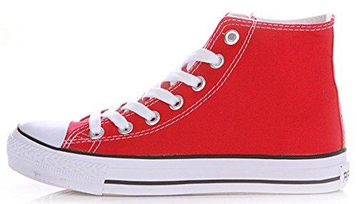 Idifu Classiche Sneakers Alte In Tela Piatte Da Uomo Con Lacci E Scarpe Da Ginnastica Sportive Rosse