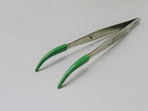 ACE Tweezers Curved Tip Rubber Tips PVC Coated Curved Tweezer Jewelry Hobby Craft by ACE