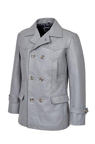 Men's KRIEGSMARINE Grau Farbe German DR WHO WW2 UBoat Reefer Genuine Hide Leather Jacket Coat