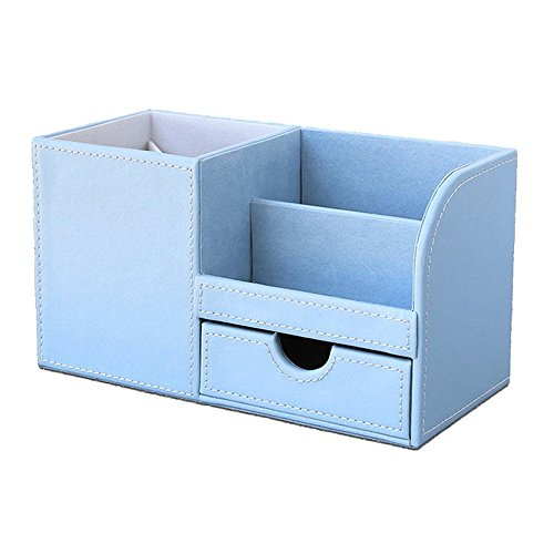Leather Multi-Function Desk Stationery Organizer Storage Box Pen/Pencil,Cell Phone, Business Name Cards Remote Control Holder Colors-Blue