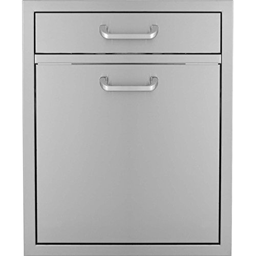 Bbqguyscom-Kingston-Series-20-inch-Single-Drawer-Roll-out-Stainless-Steel-Trash-Recycling-Bin-Combo
