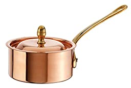 Paderno World Cuisine Mini Copper Sauce Pan with Copper-Tin Lid, 13Ozs