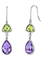 14 Karat White Gold 2 Stone Design 8.50 Carats Peridot And Amethyst Dangle Earrings