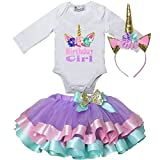 Kirei Sui Girls Lavender Pink Mint Satin Trimmed Tutu & Birthday Tee Outfit