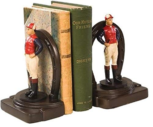 EuroLuxHome Bookends Bookend Horseshoe Standing Jockey Colorful Cast Resin New Hand-