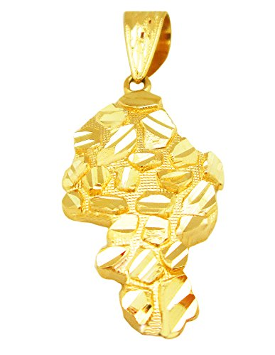 Mens 10k Yellow Gold Nugget Hip Hop Charm Nugget (Nugget Charm Pendant)