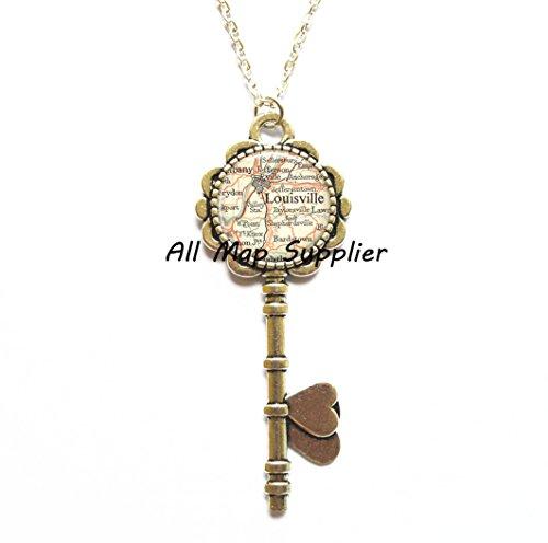 Charming Key Necklace,Louisville, Kentucky map Key Pendant, Louisville map Key Necklace, Louisville map jewelry resin Key Pendant,AO149 (Halloween City Lexington Ky)