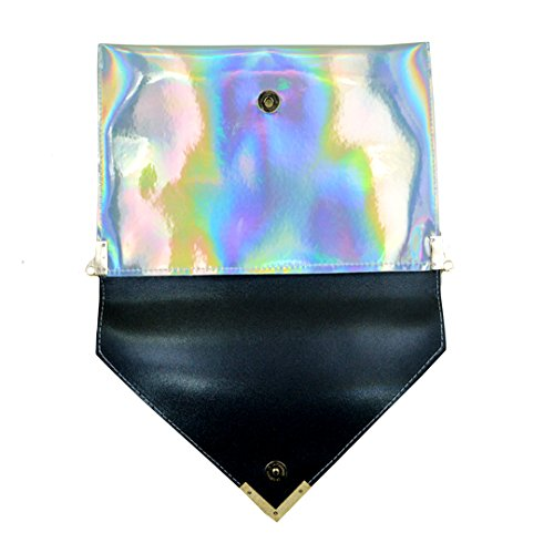 Laser Purse shoulder Envelope Meliya Chain Silver Holographic Leather Clutch Pu Women's Bag Handbag qOxaTXxp