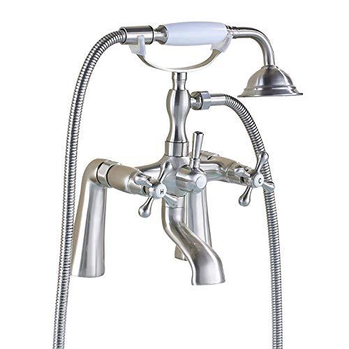 Rozin Deck Mounted 2 Holes Bathtub Filler Faucet with Handheld Shower Brushed Nickel