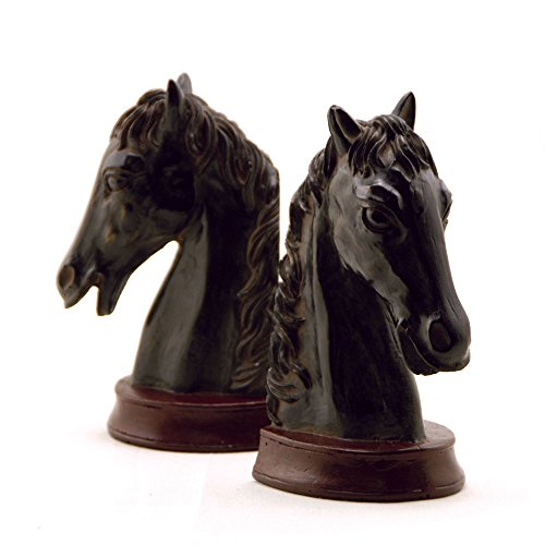 Ebony Horse Head Bookends Cast From Resin 7 1/2 Inches High
