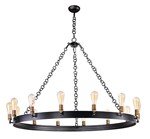 - Maxim 26276BKNAB Noble 14-Light Chandelier, Black / Natural Aged Brass Finish, Glass, MB Incandescent Incandescent Bulb , 9W Max., Wet Safety Rating, 3000K Color Temp, Shade Material, 800 Rated Lumens