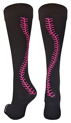 MadSportsStuff Softball Socks with Stitches Over the Calf (Black/Neon Pink, Small) ()