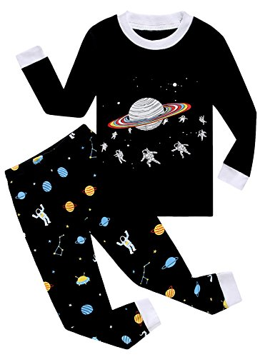 Family Feeling Space Earth Little Boys Long Sleeve Pajamas Sets 100  Cotton Clothes Kids Pjs Size 6 Years Black