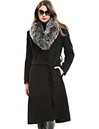 Women's Trench Long Wool Coat with Real Fox Fur Collar